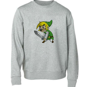 zelda sweater Gray Sweatshirt Crewneck Men or Women for Unisex Size with variant colour