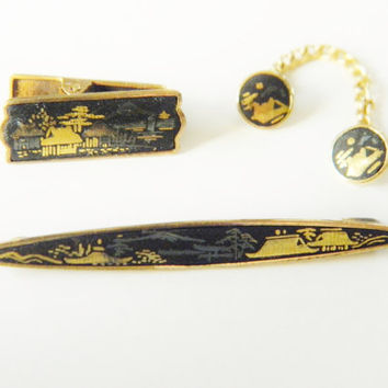 Japanese Damascene Mens Tie Clip Bar Pin Button Set signed