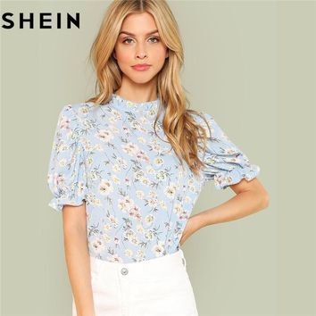 SHEIN Office Lady Tops Ruffle Floral Blue Blouses New Women Summer Casual Short Puff Sleeve Frill Trim Calico Print Blouse