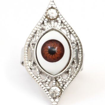 Evil Eye Ring Adjustable Brown Nazar Amulet RF40 Goth Silver Tone Statement Halloween Fashion Jewelry
