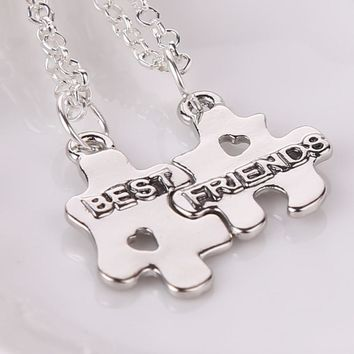 new Best Friends Forever Necklaces 2 Puzzle Pendant Couple Necklace For BFF Heart Cut Off Friendship Jewelry Hot Christmas Gift