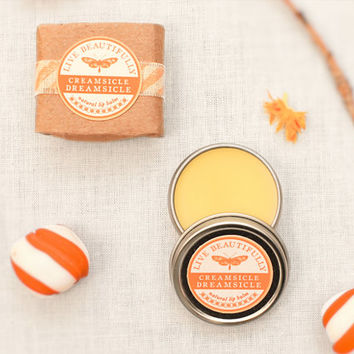 SALE - Orange Lip Balm, All Natural - Creamsicle Dreamsicle - Sweet Orange and Vanilla