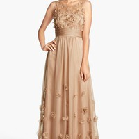 Women's JS Collections Floral Applique Chiffon Gown,
