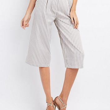 Striped Wide-Leg Culottes