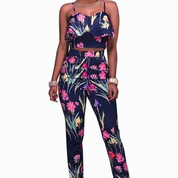 Flower Print Ruffles Crop Top with  High-waisted Pants Two Pieces Set