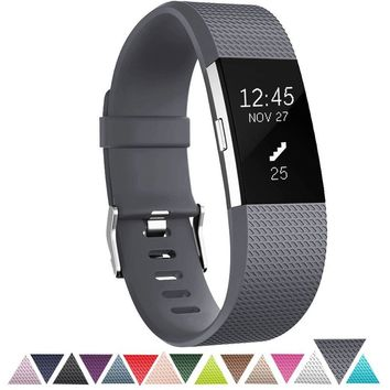 Soft TPU Adjustable Replacement Sport Strap Band for Fitbit Charge 2 - Grey L