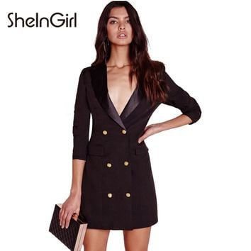 SheInGirl Solid Black Sexy Dress Women Office Blazer Dress Chic Bodycon Mini Dress Single Button Female Casual Vestidos