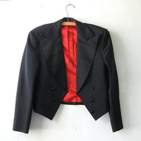 STOREWIDE SALE... Vintage 1950s Cropped Tuxedo Jacket. mens blazer.
