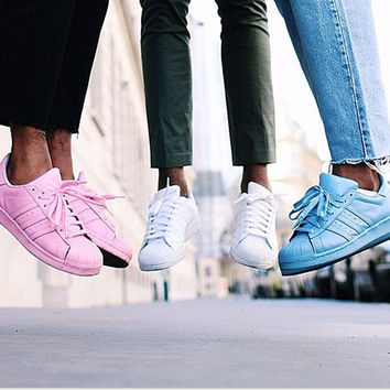 """Adidas"" Fashion Shell-toe Flats Sneakers Sport Shoes Pure color white blue pink"