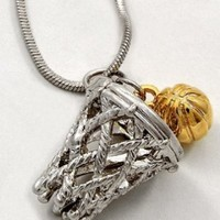"DianaL Boutique Basketball Charm Pendant Necklace Silver and Gold Tone 3/4"" Rhodium Plated Gift Boxed"