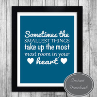 Printable Nursery Art for new baby boy and kids bedroom - Blue/Teal and white with hearts - Quotable wall art - High quality JPEG