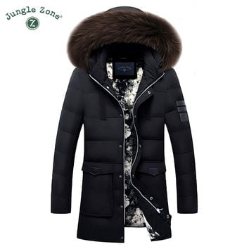 Winter Keep Warm Coat Casual Men's Down Jacket Men's 90% White Duck Down Long section Jacket Coat men