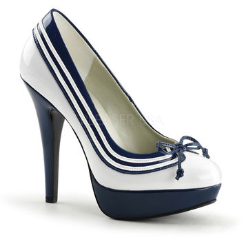 Funtasma Hey Sailor White Patent and Navy Slip On Pumps