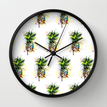 Abstract Watercolor Pineapple Wall Clock by Channny Tatum Art