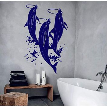 Vinyl Wall Decal Dolphins Show Zoo Water Park Bathroom Design Stickers Unique Gift (881ig)
