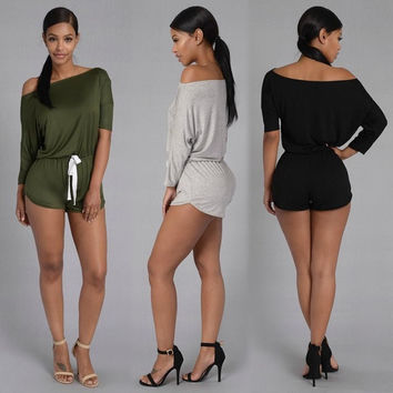 Nuggled Down Romper Olive Nova Season Jumpsuit Plain Asymmetric Shoulder Belt Drawstring Waist Fashion Short Playsuit