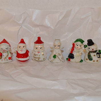 Christmas Place Card Name Holders 6 Vintage Commodore Japan Table Place Card Holders Set of 6 Santa Angel Elf Snowman Ceramic Holders