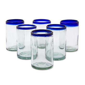 NOVICA Artisan Crafted Hand Blown Clear Blue Rim Recycled Glass Juice Glasses, 14 oz. 'Classic' (set of 6)