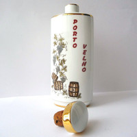 Old Port Wine Bottle - Vintage Porcelain - Images of Grapes and Barrels