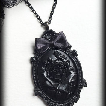 Black Rose Gothic Necklace, Rose Cameo Pendant, Romantic Victorian Steampunk Valentine, Gothic Jewelry Gift For Her, Valentines Gift