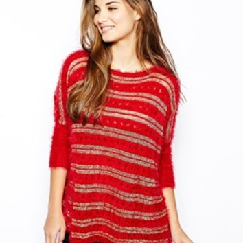 Lovestruck Selena Fluffy Sweater with Metallic Stripes - Red