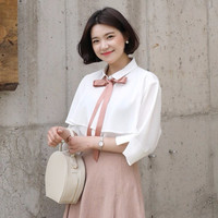 Ribbon Tie 3/4 Sleeve Blouse by 66girls