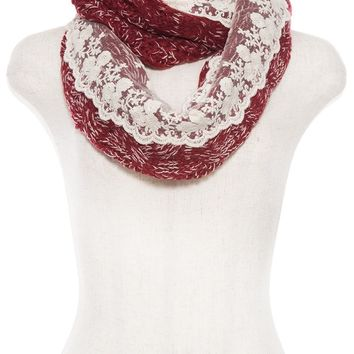 KNITTED PATTERN ACCENT FLORAL LACE INFINITY SCARF