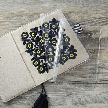 Black Flowers Theme Soft Cloth Cover Floral Journal Set A6 DIY Agenda Diary Book 128 Sheets Free Shipping Hobonichi Fashion Gift