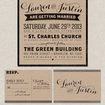 Vintage Urban Kraft Wedding Invitation Suite - 100 Quantity - Customized with your information & wedding colors