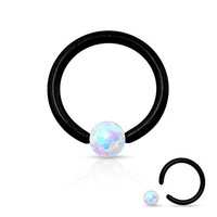 Opal Captive Bead Ring 16g 316L Surgical Steel (Black)