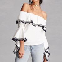 White Off The Shoulder Blouses Elastic Slash Neck