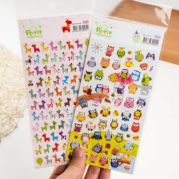 DIY Cute Kawaii Owl Giraffe Stickers For Scrapbook Paper Stickers For Home Decoration Scrapbooking Stickers Free Shipping 432