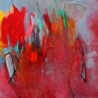 "Abstract Painting Modern Art Red ""Flare"""