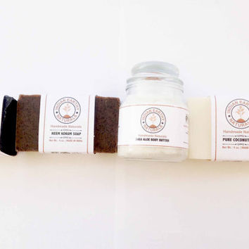 Organic Skin & Face Care Kit - Pure Neem Soap, Pure Coconut Milk Soap, Face Soap, and Body Butter