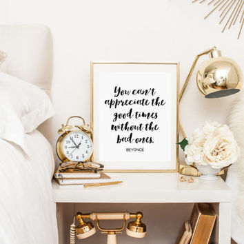 "BEYONCE QUOTE ""I Woke Up Like This"" Beyonce Print Beyonce Lyric Bedroom Wall Art Print Print Song Typography Print Wall Art BEYONCE Print"