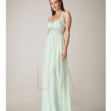 LM by Mignon AL1820 Mint Chiffon Empire Waist Open Back Dress 2015 Prom Dresses