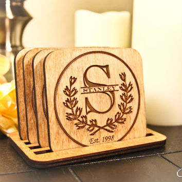 Custom Engraved Wood Monogram Family Name + Date Coasters