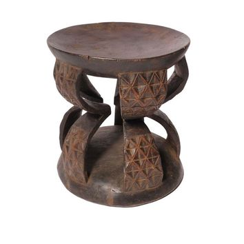 Pre-owned Carved African Wood Stool IV