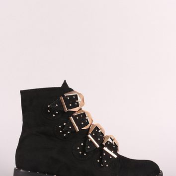 Bamboo Vegan Suede Studded Buckles Almond Toe Ankle Boot