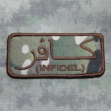 Multicam+Tan Afghanistan U.S.NAVY SealTeam6 INFIDEL Military Tactical Morale Embroidery patch B2777