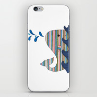 Striped Whale iPhone & iPod Skin by Erin Brie Art