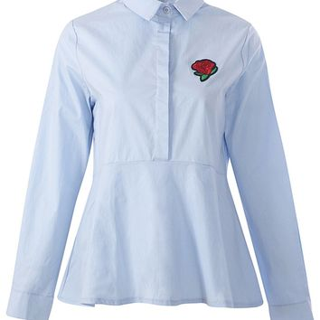 Blue Embroidery Rose Long Sleeve Shirt