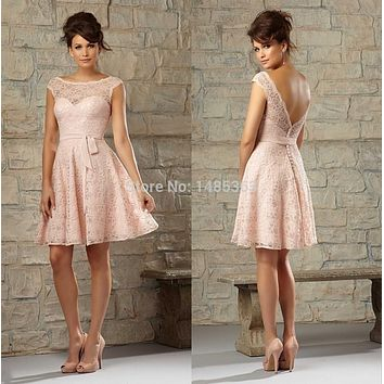 New In Trend Scoop Neck with Cap Sleeves Short Party Dresses 2015 Low Back Pink Cocktail Dresses with Sash