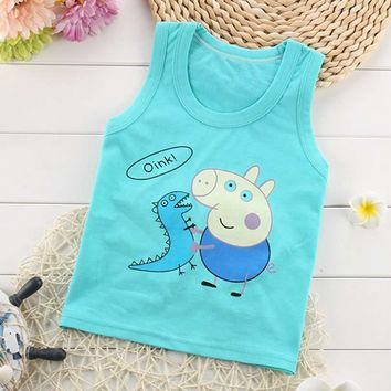 Shirt Baby Blouses Kids Vest Sleeveless t-shirt Boys new Toddler Shirts Cool Pig Print Cotton Cartoon Children' s single Shirt