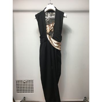 Cristina Pacini black & bronze sequins haute Couture evening jumpsuit sz 2/4