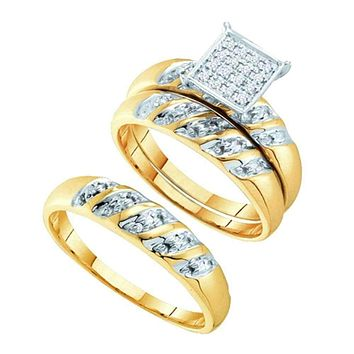 14k Two-tone Gold His & Hers Round Diamond Cluster Matching Bridal Wedding Ring Band Set 1/12 Cttw - FREE Shipping (US/CAN)