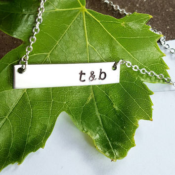 Couples Initials Silver Pewter Horizontal Bar Necklace, Wife Girlfriend, Relationship Necklace, Personalized Initial Necklace, Bridal, Gift
