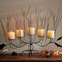 SPOOKY WOODS PILLAR CANDLE CENTERPIECE