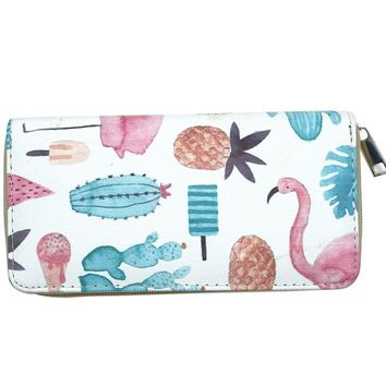 Cactus Flamingo Women's Zipper Wallet