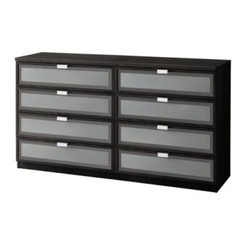 "HOPEN 8-drawer dresser - black-brown/frosted glass - 63x33 7/8 "" - IKEA"